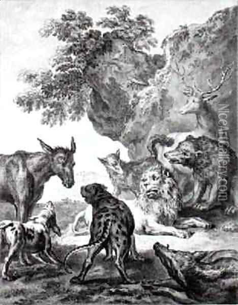 The Animals Fallen Sick With the Plague, illustration for the Fables of La Fontaine, 1755 Oil Painting - Jean-Baptiste Oudry