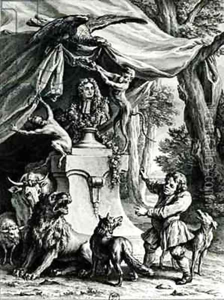Allegorical portrait of Jean de La Fontaine 1621-95 surrounded by animals from his fables Oil Painting - Jean-Baptiste Oudry