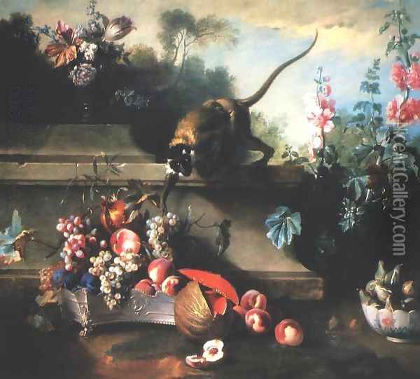 Still Life with a Monkey, Fruit and Flowers Oil Painting - Jean-Baptiste Oudry