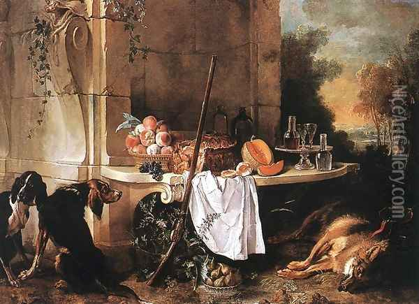 Dead Wolf 1721 Oil Painting - Jean-Baptiste Oudry