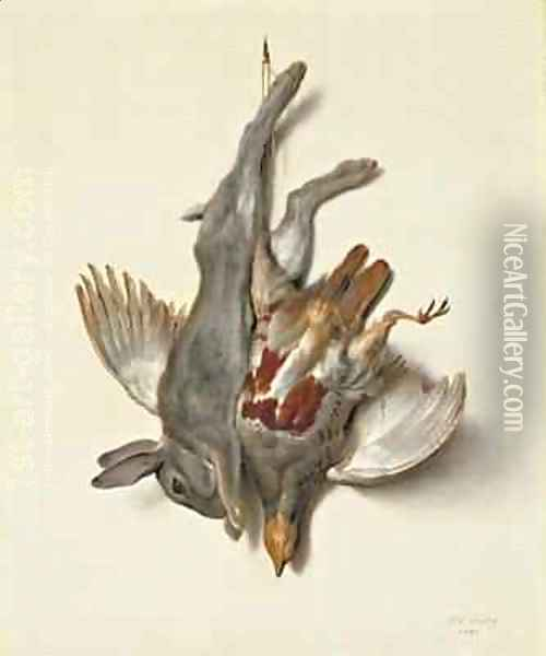 A Young Rabbit and Partridge hung by the Feet, 1751 Oil Painting - Jean-Baptiste Oudry
