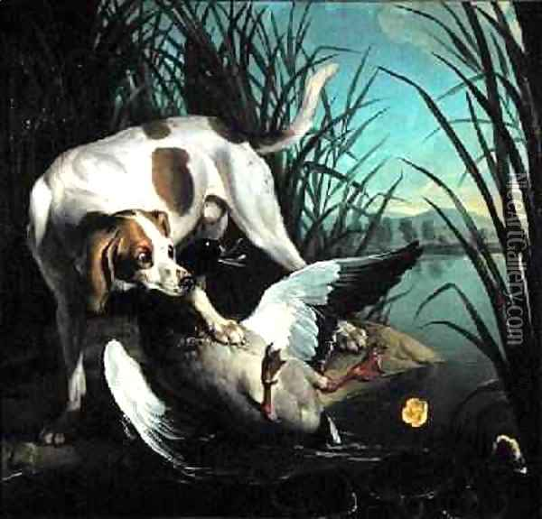 Dog with a wild duck Oil Painting - Jean-Baptiste Oudry