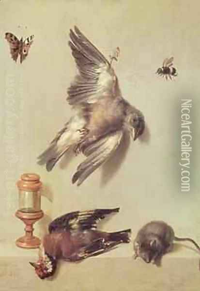 Still Life of Dead Birds and a Mouse, 1712 Oil Painting - Jean-Baptiste Oudry