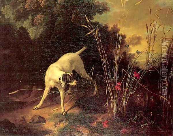 A Dog on a Stand 1725 Oil Painting - Jean-Baptiste Oudry