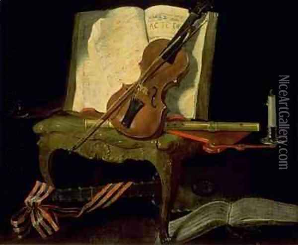 Still Life with a Violin Oil Painting - Jean-Baptiste Oudry