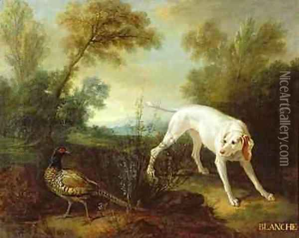 Blanche, Bitch of the Royal Hunting Pack Oil Painting - Jean-Baptiste Oudry