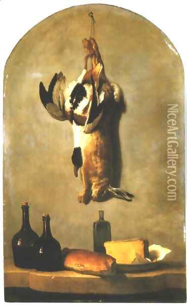 Still Life: Hare, Duck, Loaf of Bread, Cheese and Flasks of Wine Oil Painting - Jean-Baptiste Oudry