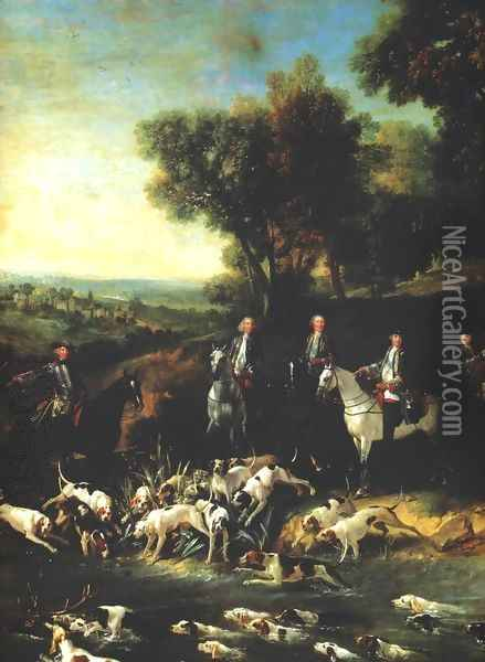 Louis XV Hunting Stag in the Forest of Saint-Germain Oil Painting - Jean-Baptiste Oudry