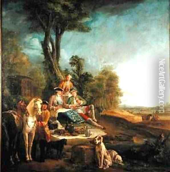 A Hunting Luncheon Oil Painting - Jean-Baptiste Oudry