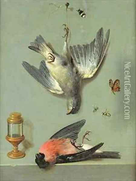 Still Life With Birds and Insects, 1713 Oil Painting - Jean-Baptiste Oudry