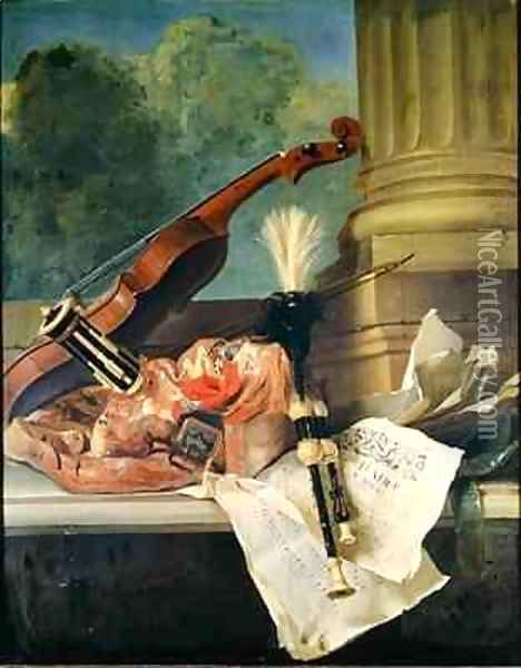 Attributes of Music Oil Painting - Jean-Baptiste Oudry