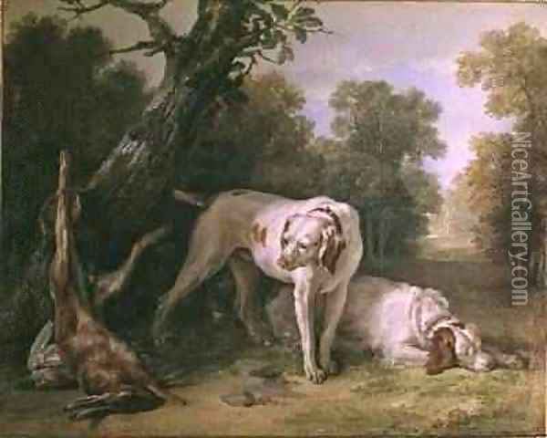 Dog and Hare Oil Painting - Jean-Baptiste Oudry