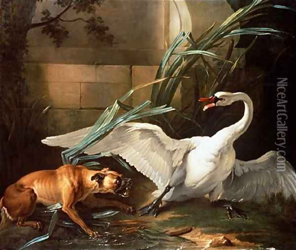 Swan Attacked by a Dog Oil Painting - Jean-Baptiste Oudry
