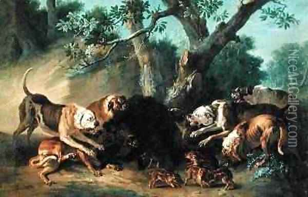 A Wild Sow and her Young Attacked by Dogs, 1748 Oil Painting - Jean-Baptiste Oudry