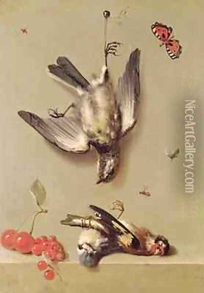 Still Life of Dead Birds and Cherries, 1712 Oil Painting - Jean-Baptiste Oudry