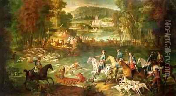 Hunting at the Saint-Jean Pond in the Forest of Compiegne, before 1734 Oil Painting - Jean-Baptiste Oudry