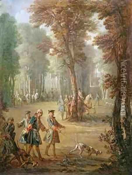 Louis XV 1710-74 and his Bloodhound at Puys, cartoon for a tapestry, 1738 Oil Painting - Jean-Baptiste Oudry