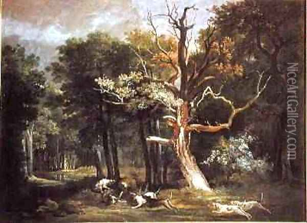 Wolf Hunt in the Forest of Saint-Germain, 1748 Oil Painting - Jean-Baptiste Oudry