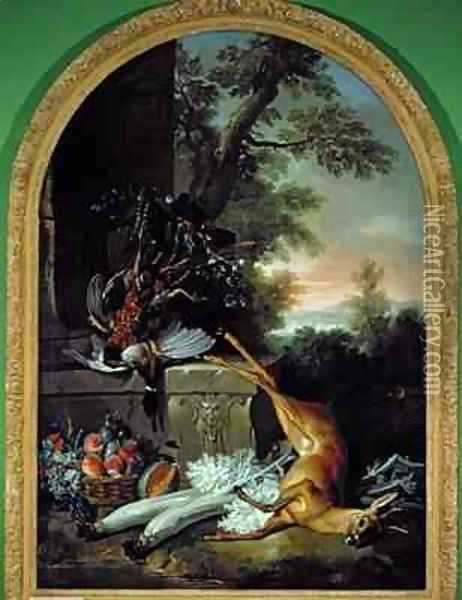 Still Life with Game in a Landscape, c.1730 Oil Painting - Jean-Baptiste Oudry