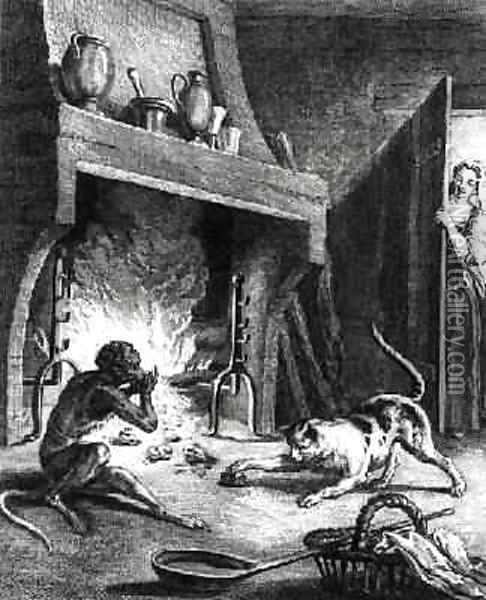 The Monkey and the Cat, illustration for the Fables by Jean de La Fontaine 1621-95, engraved by Louis Le Mire 1736-57 Oil Painting - Jean-Baptiste Oudry