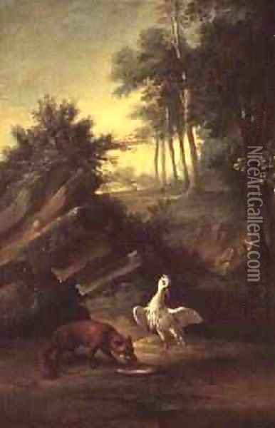 The Fox and the Stork, 1747 Oil Painting - Jean-Baptiste Oudry