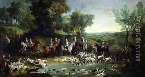 Louis XV 1710-1774 Stag Hunting in the Forest at Saint-Germain, 1730 Oil Painting - Jean-Baptiste Oudry
