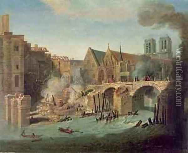 The Burning of the Petit Pont in 1718 Oil Painting - Jean-Baptiste Oudry