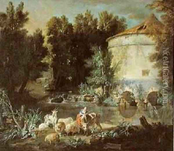 Landscape with a Round Tower, 1737 Oil Painting - Jean-Baptiste Oudry