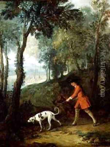 The Huntsman with a Tufter on a Leash, c.1727 Oil Painting - Jean-Baptiste Oudry