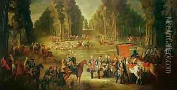 Meeting for the Puits-du-Roi Hunt at Compiegne Oil Painting - Jean-Baptiste Oudry