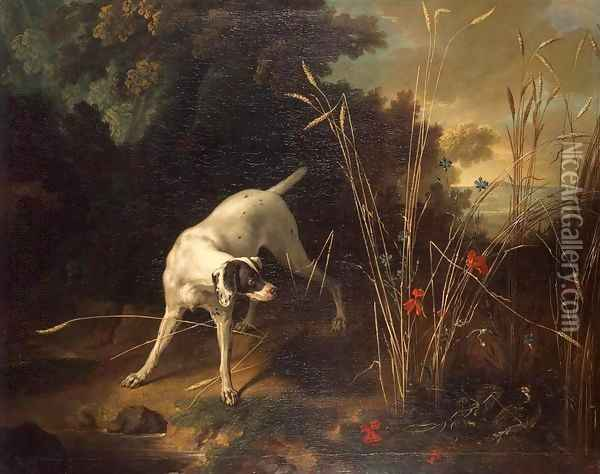 Dog Pointing a Partridge Oil Painting - Jean-Baptiste Oudry