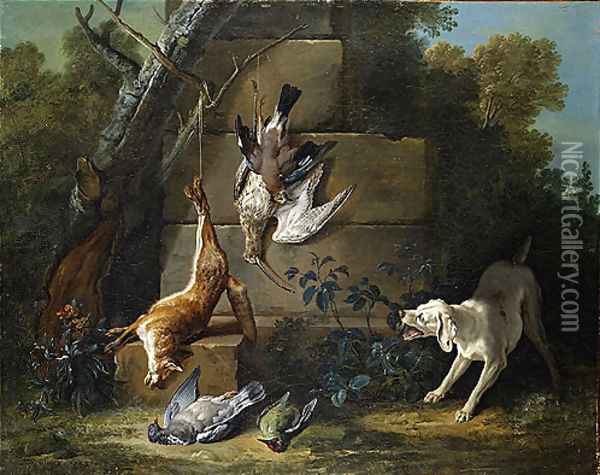 Dog Guarding Dead Game 1753 Oil Painting - Jean-Baptiste Oudry