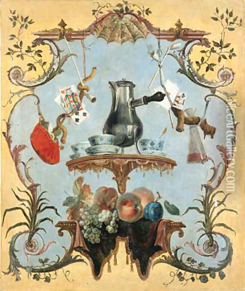 A still life with silver coffee pot Oil Painting - Jean-Baptiste Oudry
