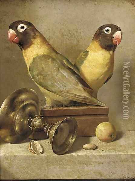 Two parrots, a silver goblet, and apple and an almond on a table Oil Painting - Jean-Baptiste Oudry