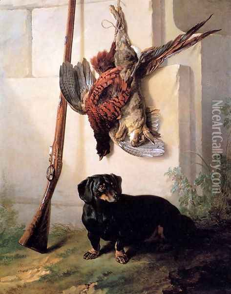 Hound with Gun and Dead Game Oil Painting - Jean-Baptiste Oudry
