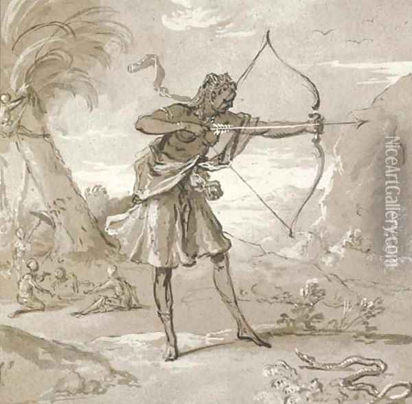 A female archer in a landscape, a snake to the right Oil Painting - Jean-Baptiste Oudry
