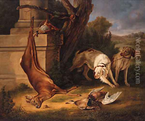 Hunting Dogs with Game in a Landscape Oil Painting - Jean-Baptiste Oudry