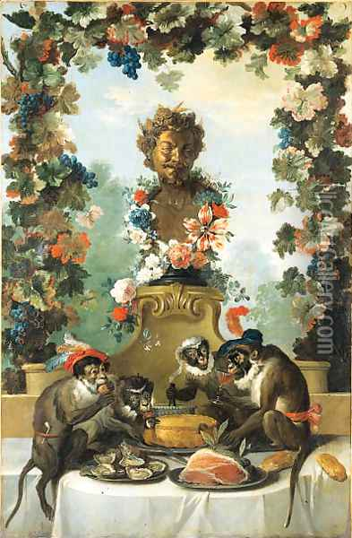 The Feast of the Monkeys Oil Painting - Jean-Baptiste Oudry