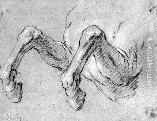 The Front Legs Of A Rearing Horse Oil Painting - Jean-Baptiste Oudry