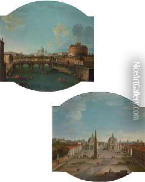 View Of Piazza Del Popolo, Rome;  And View Of The Ponte Sant'angeloand Castel Sant'angelo, With Saint  Peter's Basilica Beyond,rome Oil Painting - Antonio Joli
