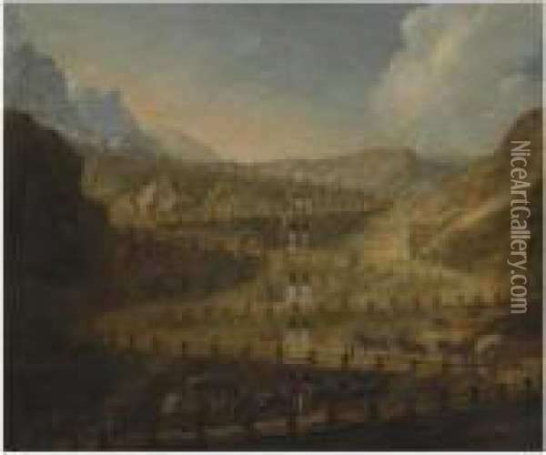 A Capriccio Mountain Landscape With Horses And Carts Ascending The Path Oil Painting - Antonio Joli