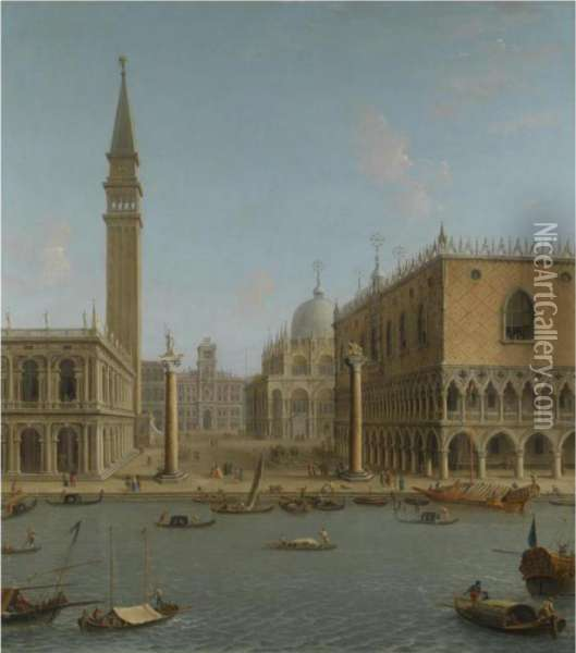 Venice, A View Of The Piazzetta Oil Painting - Antonio Joli