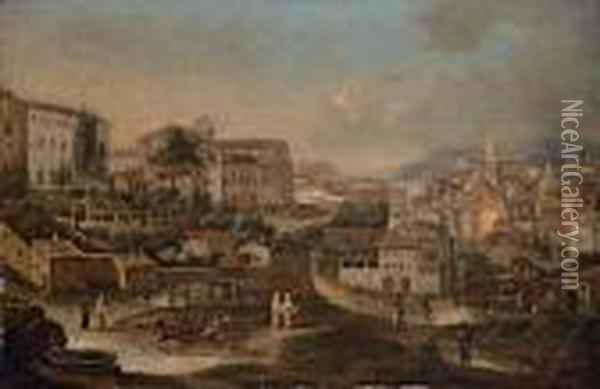 A View Of Rome From The Monti,  Looking West, With San Francesco Di Paula And The Torre Margani On The  Left, The Madonna Dei Monti On The Right And The Campidoglio, The Church  Tower Of Santa Maria In Aracoeli And The Dome Of Santi Luca E Martina  Be Oil Painting - Antonio Joli