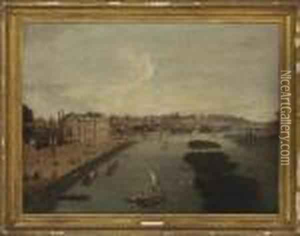 A View Of The Thames At Richmond And Cholmondeley House Oil Painting - Antonio Joli