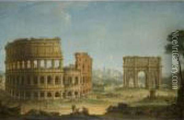 Rome A View Of The Colosseum And  The Arch Of Constantine With An Artist  Sketching In The Right Foreground Oil Painting - Antonio Joli
