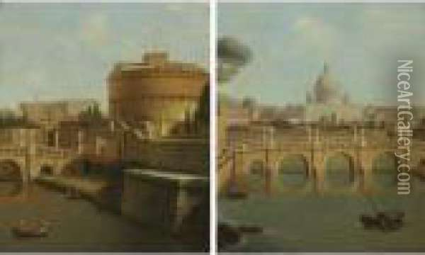 'view Of St. Peter' And 'view Of Castel Sant' Angelo': A Pair Oil Painting - Antonio Joli