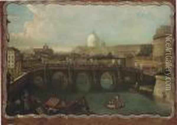 The Tiber, Rome, Looking Downstream With The Castel And Pontesant'angelo Oil Painting - Antonio Joli