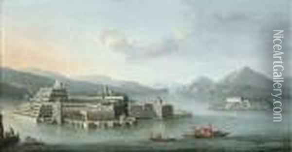 Lake Maggiore With The Isola Bella, And The Isola Dei Pescatoribeyond Oil Painting - Antonio Joli