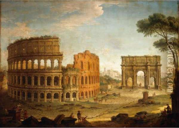 Rome, A View Of The Colosseum 