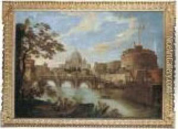 The Tiber, Rome, Looking  Downstream With The Castel And Ponte Sant'angelo, Saint Peter's And The  Vatican, Santo Spirito In Sassia And The Janiculum Beyond, A Group Of  Four Soldiers In The Foreground Oil Painting - Antonio Joli